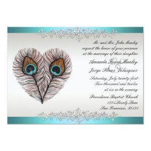 Teal Peacock Wedding Invitation 5