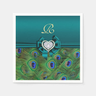 Teal Peacock Wedding Paper Party Napkins