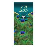 Teal Peacock Wedding Program Rack Card