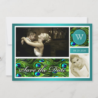 Teal Peacock Wedding Save the Date Photo Cards