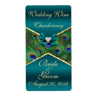 Teal Peacock  Wedding Wine Label Personalized Shipping Labels