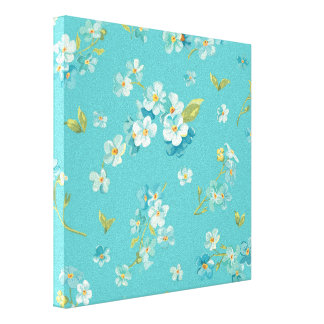 teal,peacock,white cherry,blossom,pattern,trendy, canvas print