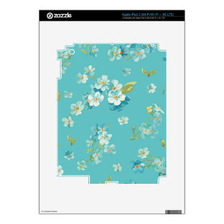 teal,peacock,white cherry,blossom,pattern,trendy, skins for iPad 3