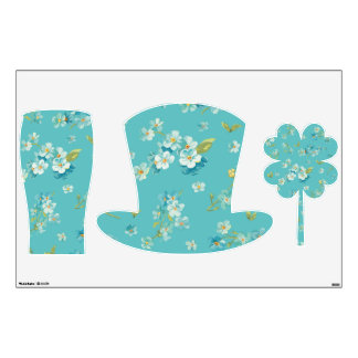 teal,peacock,white cherry,blossom,pattern,trendy, room decals