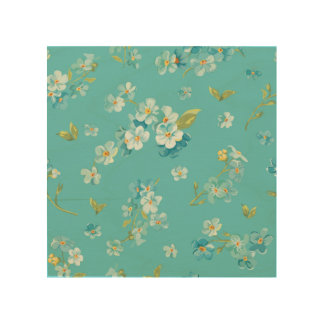 teal,peacock,white cherry,blossom,pattern,trendy, wood wall art