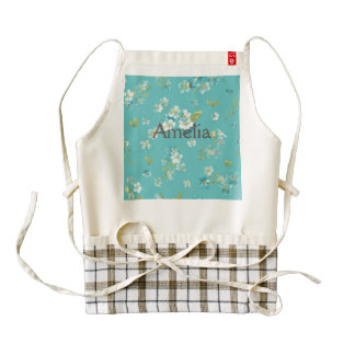 teal,peacock,white cherry,blossom,pattern,trendy, zazzle HEART apron