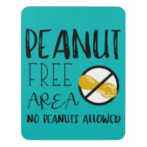 Teal Peanut Free Area No Nuts Symbol Typography Door Sign