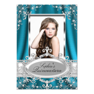 Teal Pearl Silk Vintage Glamour Quinceanera 5x7 Paper Invitation Card