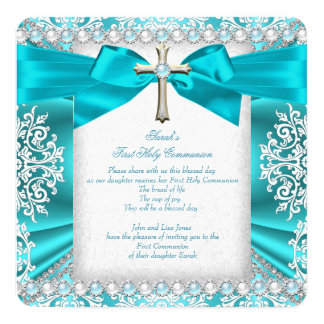 Teal Pearl White First Holy Communion Girls 2 Card