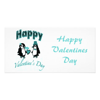 Teal Penguin Happy Valentines Day Card