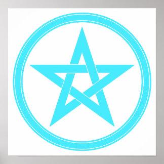 Teal Pentacle - Pentagram Poster