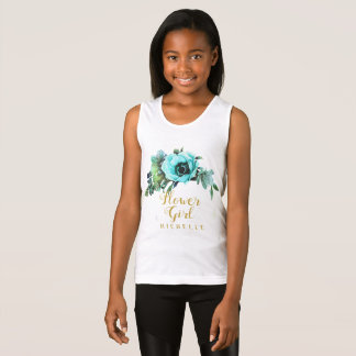 Teal Peony Swag Flower Girl Name ID456 Tank Top