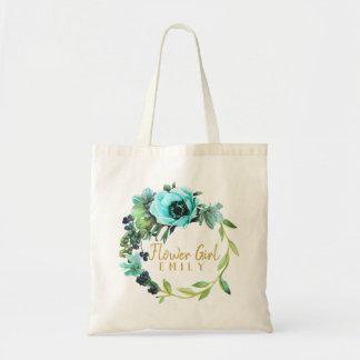 Teal Peony Wreath Flower Girl Name ID456 Tote Bag
