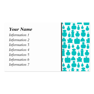 Teal Perfume Bottles Pattern. Business Card