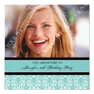 Teal Photo 18th Birthday Party Invitations