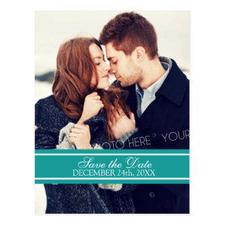 Teal Photo Save the Date Winter Wedding Postcards