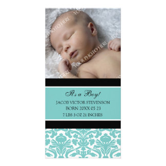 Teal Photo Template New Baby Birth Announcement Custom Photo Card
