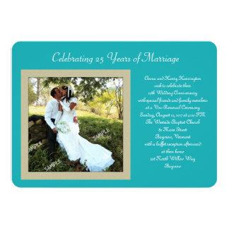 "Teal Photo Vow Renewal Celebration Invitation 5"" X 7"" Invitation Card"