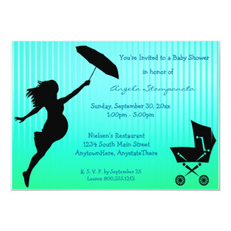 Teal Pin-Striped Baby Shower Invitation