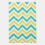 Teal, Pineapple, Wht Large Chevron ZigZag Pattern Towel