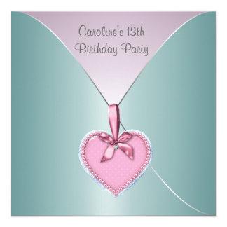 Teal Pink 13th Birthday Party Elegant Invitation
