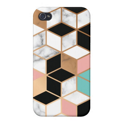 Teal Pink Abstract Cube Pattern on Marble Case For iPhone 4