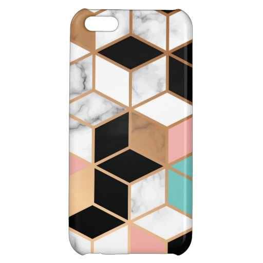 Teal Pink Abstract Cube Pattern on Marble Case For iPhone 5C