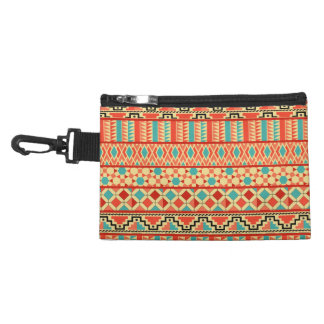 Teal Pink Abstract Geo Aztec Tribal Print Pattern Accessory Bag