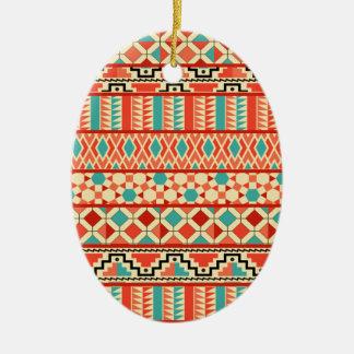 Teal Pink Abstract Geo Aztec Tribal Print Pattern Ceramic Ornament