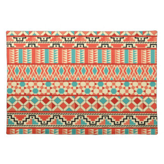 Teal Pink Abstract Geo Aztec Tribal Print Pattern Cloth Placemat