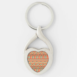 Teal Pink Abstract Geo Aztec Tribal Print Pattern Keychain
