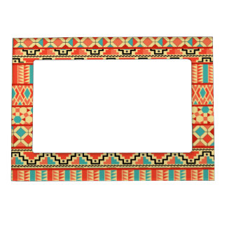 Teal Pink Abstract Geo Aztec Tribal Print Pattern Magnetic Picture Frame