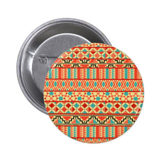 Teal Pink Abstract Geo Aztec Tribal Print Pattern Pinback Button