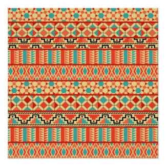 Teal Pink Abstract Geo Aztec Tribal Print Pattern Poster