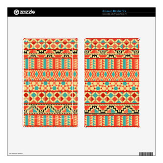 Teal Pink Abstract Geo Aztec Tribal Print Pattern Skins For Kindle Fire