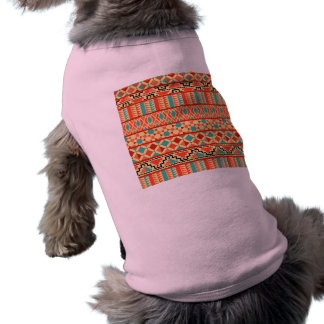 Teal Pink Abstract Geo Aztec Tribal Print Pattern T-Shirt