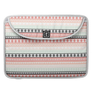 Teal, Pink and Gray Tribal Aztec Pattern Sleeves For MacBook Pro