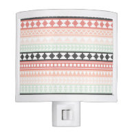 Teal, Pink and Gray Tribal Aztec Pattern Nite Lite