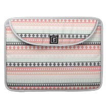 Teal, Pink and Gray Tribal Aztec Pattern Sleeve For MacBook Pro