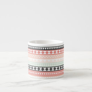 Teal, Pink and Gray Tribal Aztec Pattern 6 Oz Ceramic Espresso Cup
