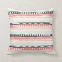 Teal, Pink and Gray Tribal Aztec Pattern Throw Pillow