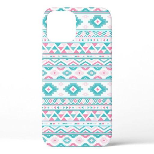 Teal Pink Aztec Pattern Art Mosaic Phone Case