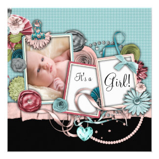 Teal Pink Black Baby Girl Photo Birth Announcement
