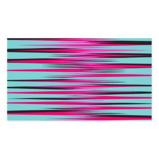 Teal PInk Black Stripes Business Card