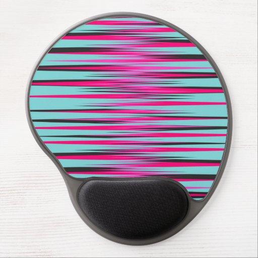 Teal, PInk, & Black Stripes Gel Mouse Mats