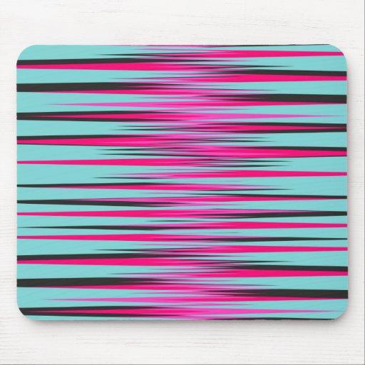 Teal, PInk, & Black Stripes Mousepad
