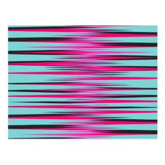 Teal, PInk, & Black Stripes Postcard