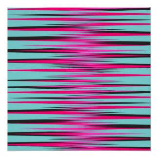 Teal, PInk, & Black Stripes Poster