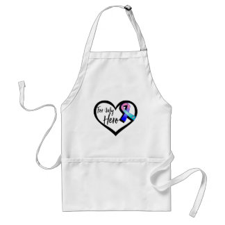 Teal Pink Blue Awareness Ribbon For My Hero Adult Apron