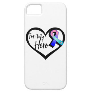 Teal Pink Blue Awareness Ribbon For My Hero iPhone SE/5/5s Case